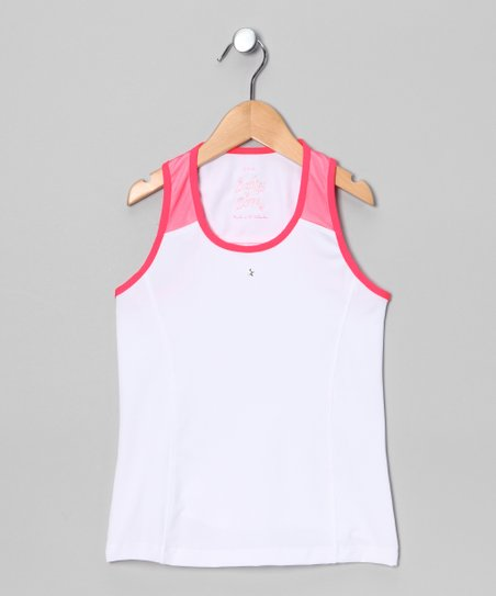 White & Coral Block Star Tank - Girls