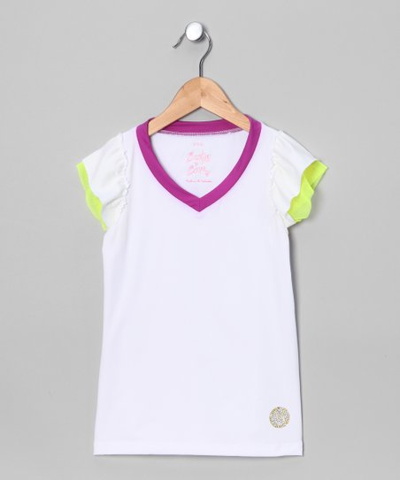 White & Magenta Angel-Sleeve Top - Girls