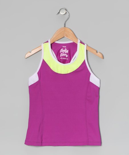 Purple & Lime Racerback Tank - Girls