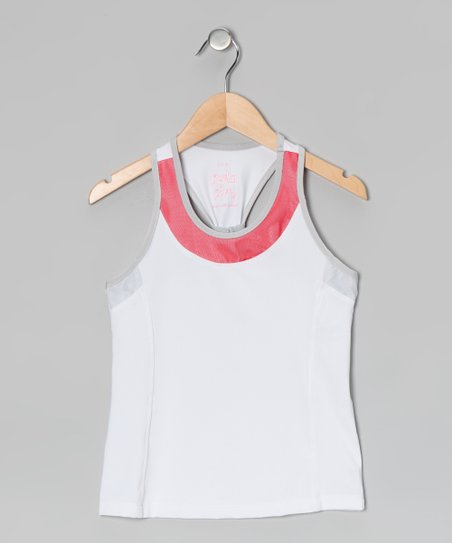 White & Red Racerback Tank - Girls