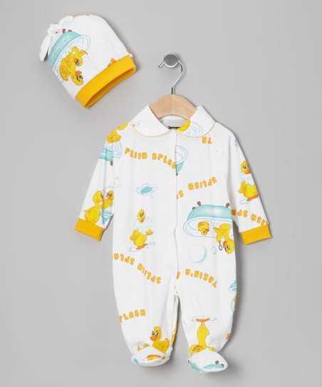 Yellow 'Splish Splash' Footie & Beanie - Infant