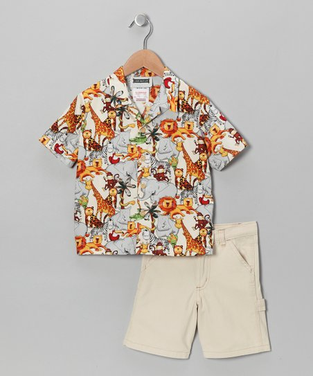 Khaki Jungle Safari Camp Button-Up & Shorts - Toddler & Boys