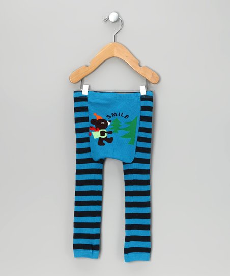 Blue Stripe Forest Bear Leggings