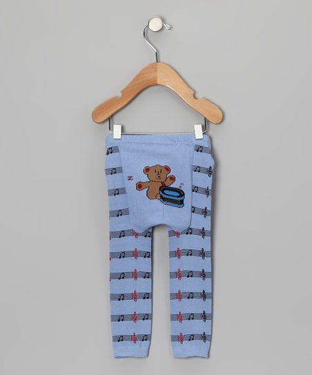 Light Blue Drum Bear Leggings - Infant
