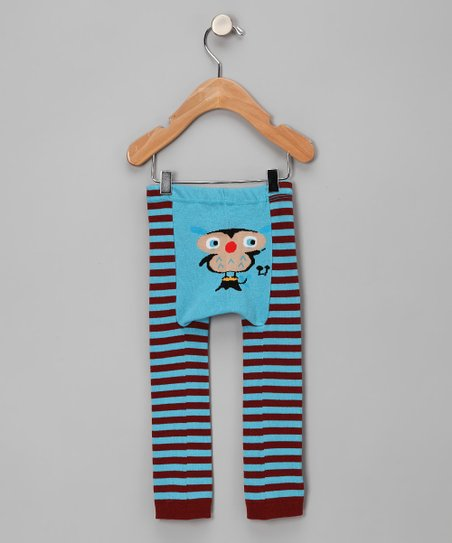 Blue Stripe Owl Leggings - Infant