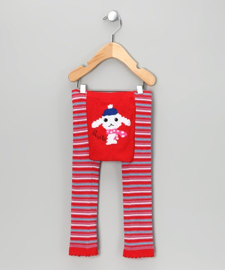 Red Stripe Poodle Leggings - Infant