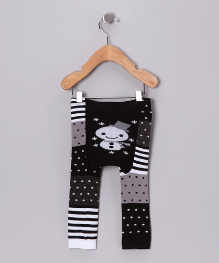 Black & White Snowman Leggings - Infant