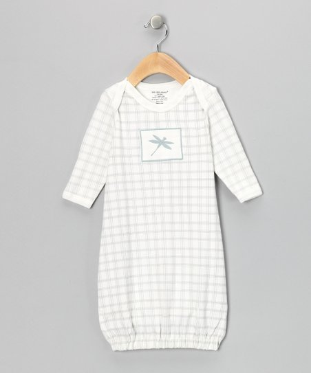 Gray Plaid Dragonfly Organic Gown - Infant