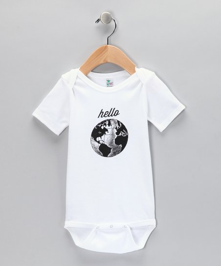 White 'Hello' World Bodysuit
