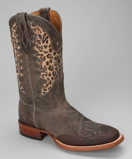 Brown Leather C-Toe Eagle Distressed Western Boot - Women