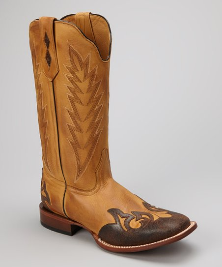 Tan Leather C-Toe Western Boot - Men