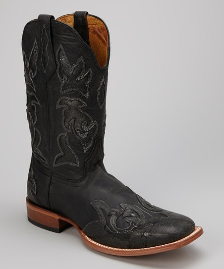 Black Distressed Leather C-Toe Western Boot - Men