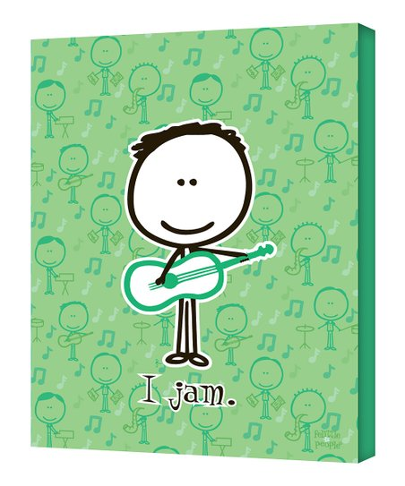 Green Guitar 'I Jam' Wall Art