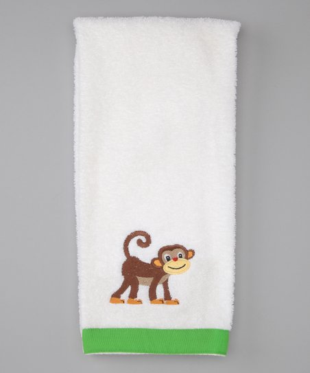 White Monkey See Monkey Do Hand Towel