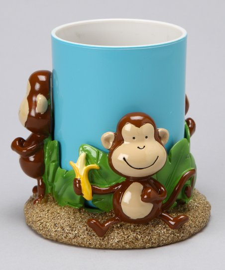 Blue Tumbler &amp; Brown Monkey Cup Holder