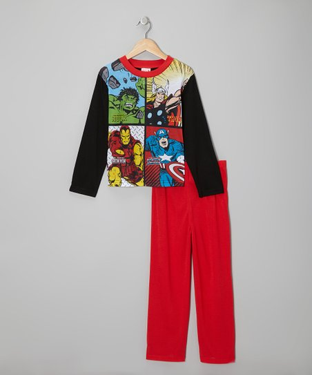 Black & Red Avengers Pajama Set - Boys