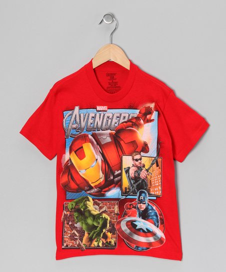 Red Avengers Action Scenes Tee - Kids