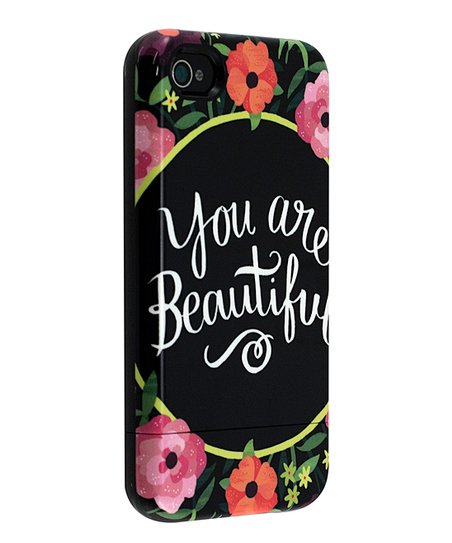 'You Are Beautiful' Floral Capsule Case for iPhone 4/4S