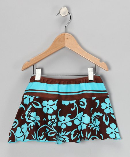 Makena Brown & Turquoise Aloha Skirt - Girls