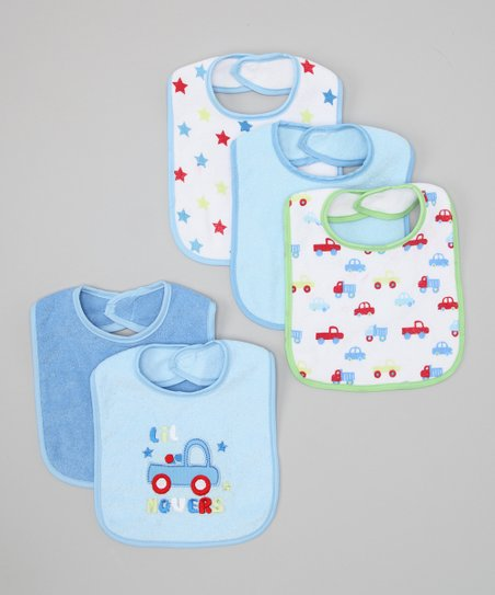 Blue 'Lil Movers' Bib Set
