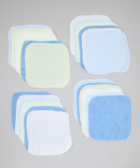 Light Green & Dark Blue Washcloth Set