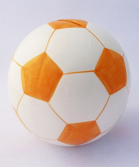 Agnik Design Orange Soccer Ball Money Bank