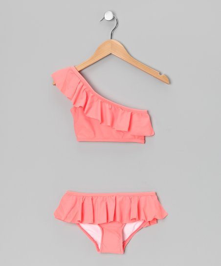 Coral Asymmetrical Ruffle Skirted Bikini - Girls