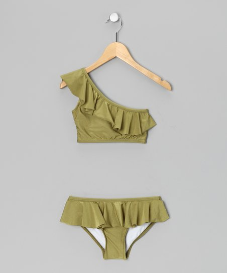 Green Ruffle Asymmetrical Bikini - Girls