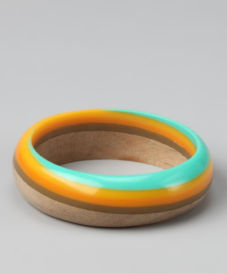 Blue & Orange Swirl Wood Bangle