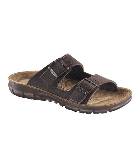 Mocha Suede Two-Strap Sandal