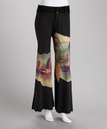 Black Fantasy Island Wide-Leg Pants