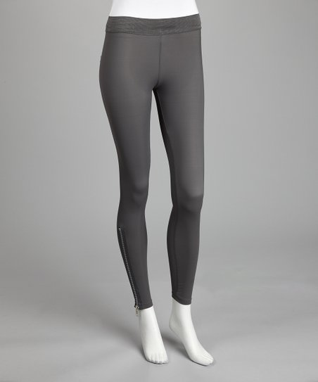 Gray Zipper Leggings