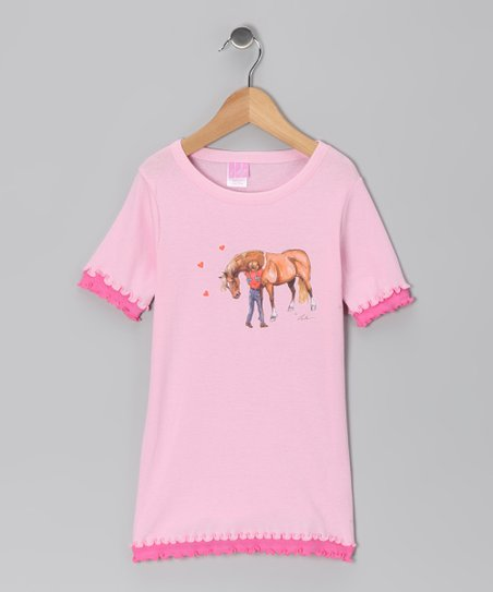 Pink Pony Hug Ruffle Tee - Girls