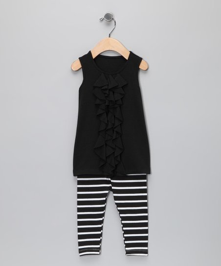 Black Ruffle Knit Tunic & Leggings - Infant