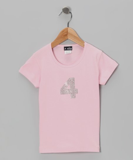 Pink '4' Short-Sleeve Tee - Toddler & Girls