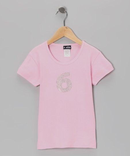 Pink &#039;6&#039; Short-Sleeve Tee - Girls
