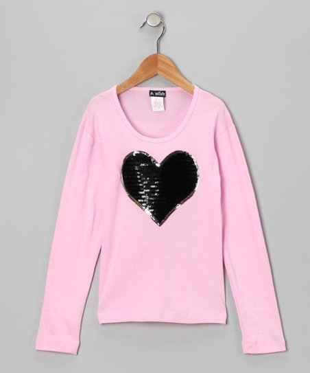 Pink & Black Heart Long-Sleeve Tee - Girls