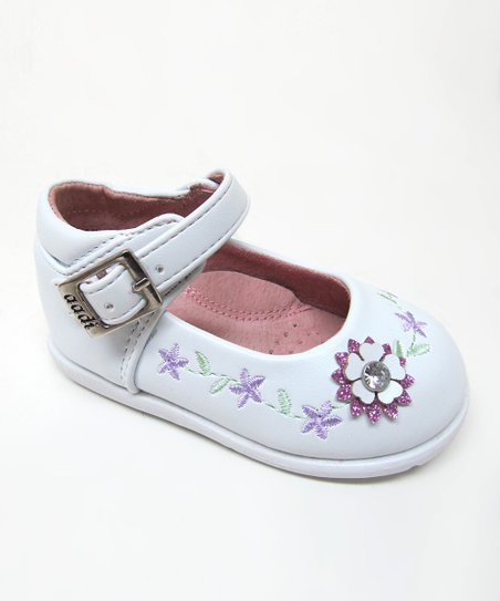 White & Purple Flower Ankle-Strap Flat