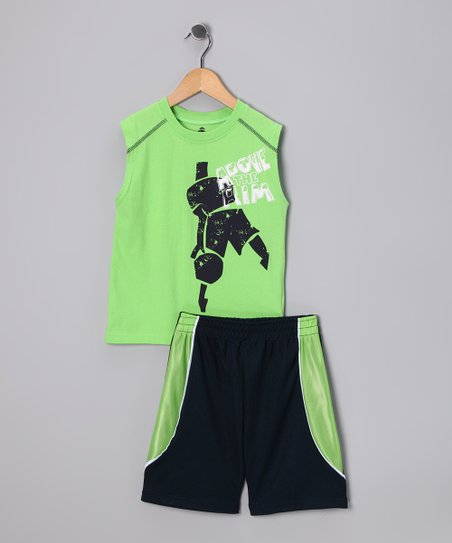 Lime Basketball Player Tank & Shorts - Toddler & Boys