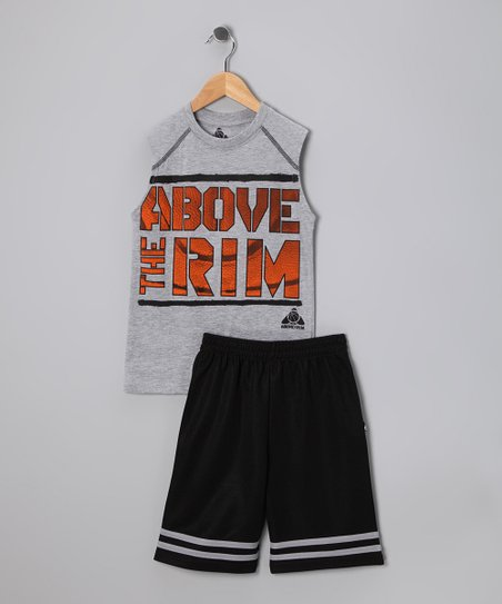 Gray Basketball Tank &amp; Shorts - Toddler &amp; Boys