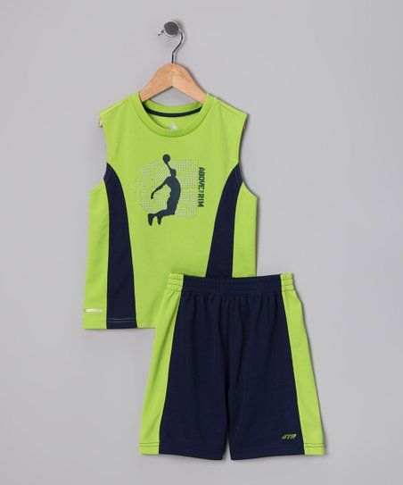 Lime Slam Dunk Tank & Shorts - Infant, Toddler & Boys