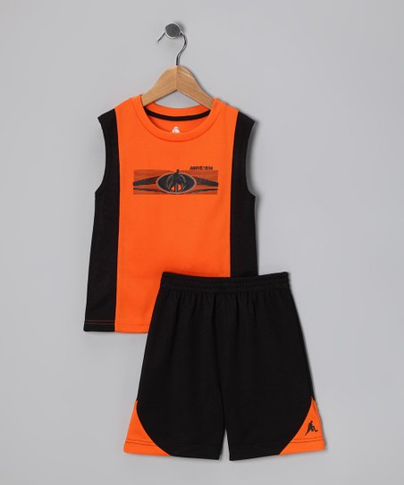 Orange & Black Sleek Logo Tank & Shorts - Infant, Toddler & Boys