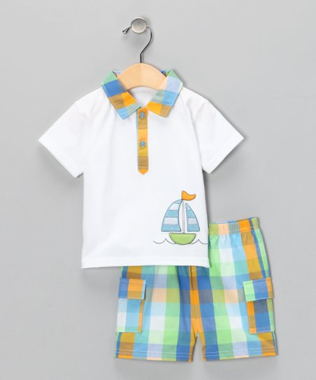 Orange & Blue Sailboat Polo & Shorts - Infant & Toddler