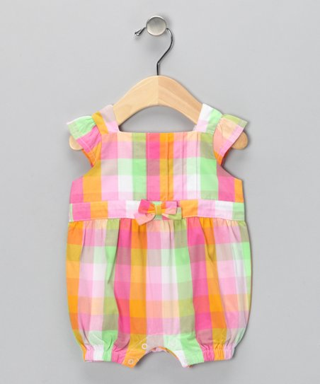 Orange & Pink Plaid Romper - Infant