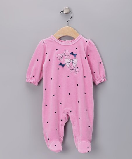 Pink Bow Polka Dot Velour Footie - Infant
