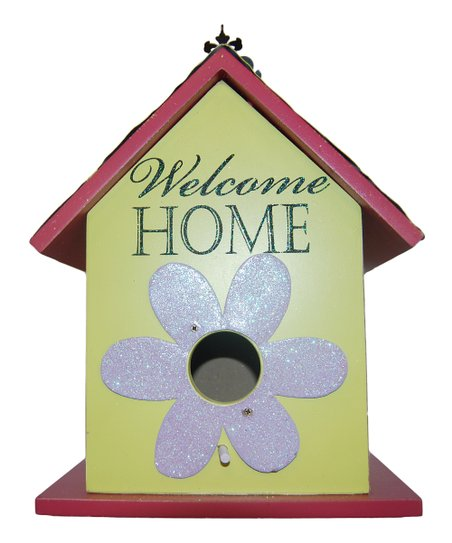 Yellow & Pink 'Welcome Home' Birdhouse