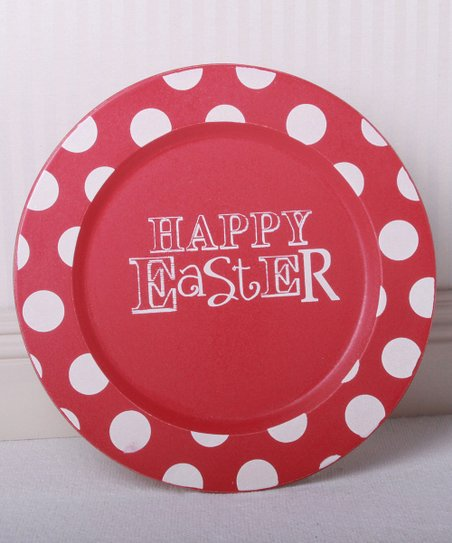 Pink Polka Dot &#039;Happy Easter&#039; Decorative Plate