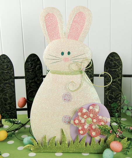 Pink &amp; White Bunny Figurine