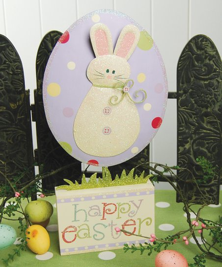 Purple Egg &amp; Bunny &#039;Happy Easter&#039; Figurine