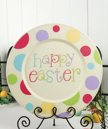 Cream &#039;Happy Easter&#039; Decorative Plate